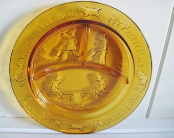 L.E. Smith, Amber Glass, Nursery Rhyme Divided Children's Plate, Mid Century