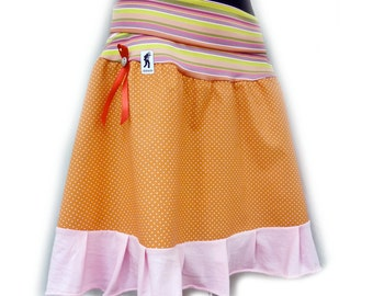 "the ""fresh-pressed-dancing-on-the-rambla-skirt"" polka dots orange pink striped 36/38"