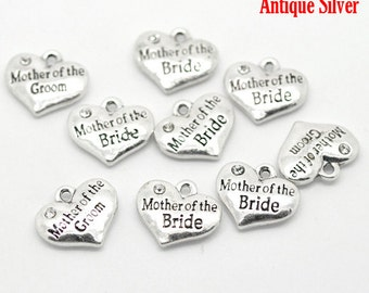"10 Pieces Antique Silver Rhinestone ""Mother of the Bride"" Wedding Heart Charms"