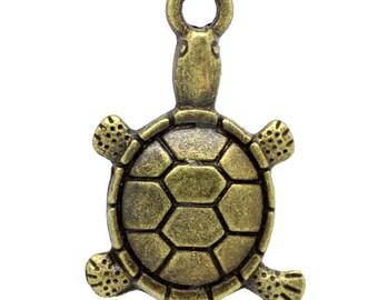 5 Pieces Antique Bronze Turtle Charms