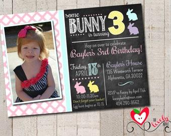 Bunny Birthday Invitation, DIY Printable Bunny Invite, Spring Birthday Invitation