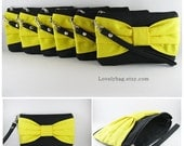 SUPER SALE - Set of 6 Black with Yellow Bow Clutches - Bridal Clutches, Bridesmaid Clutch, Bridesmaid Wristlet, Wedding Gift - Made To Order