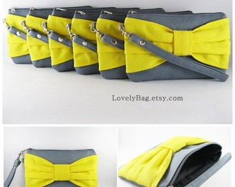 SUPER SALE - Set of 5 Gray with Yellow Bow Clutches - Bridal Clutches, Bridesmaid Clutch,Bridesmaid Wristlet,Wedding Gift - Made To Order