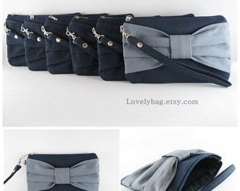 Set of 6 Wedding Clutches, Bridesmaids Clutches / ( 5 Navy Bow and 1 Gray Bow ) - MADE TO ORDER