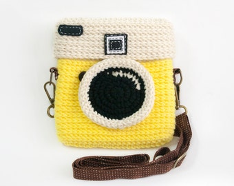 Crochet Lomo Camera Purse/ Pastel Yellow Color