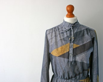 Vintage Grey Shift Dress, Geometric Print, Long Sleeved, 70's Style