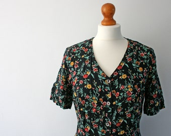 Vintage Black Floral Shirt Dress, Floral Pattern, Plus Sized