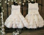 White linen flower girl dress. White flower girl dress, country rustic flower girl dress. Toddler girls white linen dress. Girl ruffle dress