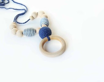 Blue  Nursing Necklace with Wooden Ring-Breastfeeding Necklace - Teething necklace with crochet beads