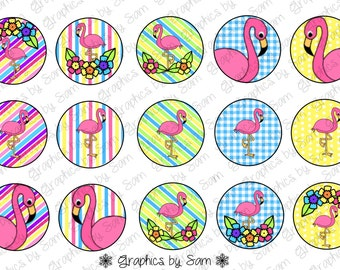 """1"""" DIGITAL Bottle Cap IMAGES -FLAMINGOS- For Use On Finished Products & For Precut sale"""