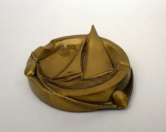 Vintage Brass Sailboat Dish Or Ashtray