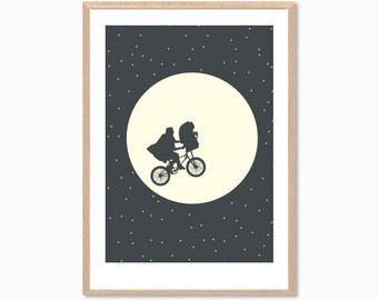 ET | Extra Terrestial Poster : 70s Movie Modern Illustration Retro Art Wall Decor Print