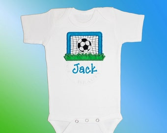 Baby Shirt Bodysuit - Personalized Applique - Soccer Goal - Embroidered Short or Long Sleeved