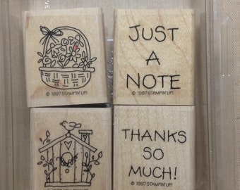 Just a Note Mini WM Rubber Stamp Set Stampin Up 1997 birdhouse basket flowers bird thanks
