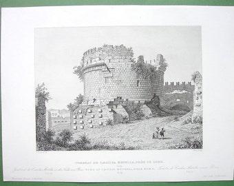 ARCHITECTURE Italy Rome Tomb of Family Cecilius Metellus on Via Appia - 1850 (2) Two Original Antique Prints Engravings
