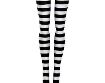 "16"" Tonner Ellowyne Tyler  Antoinette  Marley  DeDe  Miette Doll Stockings - Black & White Stripe - Doll Clothes"