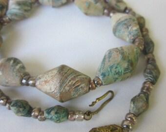 Antique Marblized Tramp Art Wooden Beads