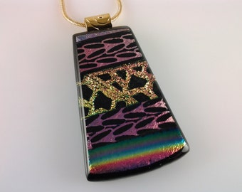 Fused Glass Jewelry, Dichroic Pendant, Gold Purple Rainbow Dichroic Glass Necklace
