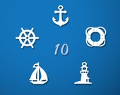 Nautical Charms - Set of 10 paper charms...Approx. 3/4 in ( 2cm )
