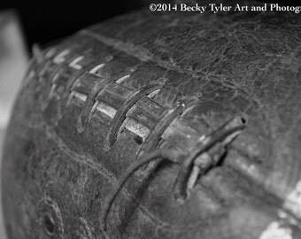 Antique Football, Macro Photography Fine Art Photo Print