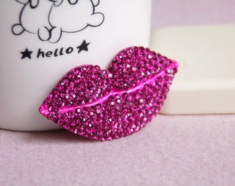 1pcs Bling Crystal Big Purple Lips Flatback Alloy jewelry Accessories for DIY phone case deco
