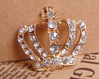 10PCS Golden Crystal Crown Flatback Alloy jewelry Accessories materials supplies