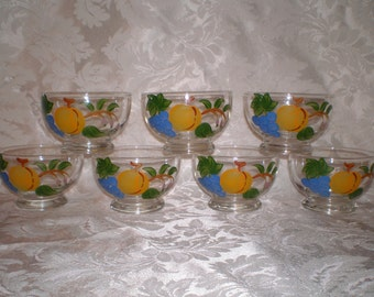 7 Fruit Hand Painted Glass Cups, Glass Sherbets, Dessert Bowls, Gay Fad or Bartlett Collins Style Footed Bowl