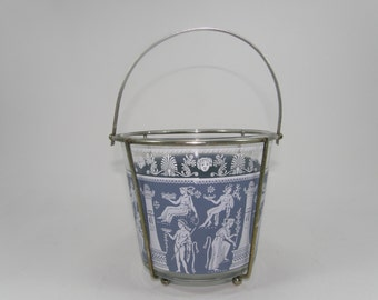 Jeannette Glass Hellenic Ice Bucket in Chrome Holder, Grecian Blue and White Bowl in Metal Carrier