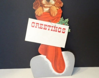 Vintage Christmas Puppy in a Stocking Cardboard Display Piece