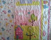 Happy By Deena Designs for Westminster Fabrics in Aqua, Yellow, Pink, Girly Girl Crib, Toddler or Play mat