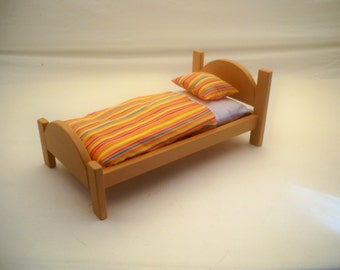 Wood Doll Bed , American Doll Bed, 18 inch Doll Bed, Wooden Doll Bed, Hand Crafted Wood Toy