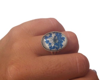 natural jewelry cute rings - preserved flower - adjustable ring with natural pressed blue little flowers and glass over beige leather