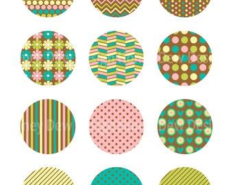 "Instant Download 2"" Printable Circles 044 - Brown Patterned Circles"