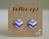 Purple and White Chevron Covered Button Earrings
