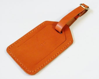 Luggage Tag - Personalized Leather Luggage Tag with Security Flap in Orange Brown - for Travel - Handmade & Hand Stitched - Free Monogram