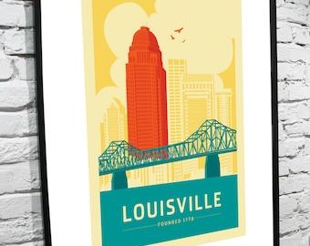 Louisville, Kentucky Skyline 8x10 Poster