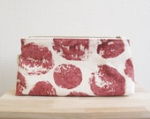Triangular zip pouch hand printed  rust red organic round motif, sweet potato, natural cotton fabric cosmetic pouch make-up bag gift for her