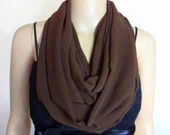 Brown Circle Scarf. Infinity Scarf. Brown Chiffon Scarf
