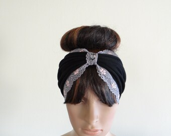 Black And Grey Lace Headband. Wide Head Wrap