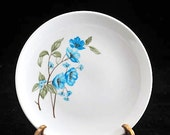 3 Sabin China Bread Plates with Blue Poppy Flowers Vintage 1950s SET of 3