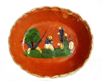 Vintage Bowl Mexican Pottery Hand Painted Terra Cotta Bowl