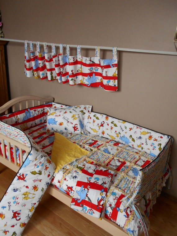 Baby Dr Seuss Fabric Crib Bedding Set Rag Quilt Valance Sheet