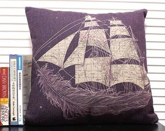 Carrack pattern Cotton Linen Pillow Cover, Cushion cover,Decorative Pillow Case, Cushion Cover