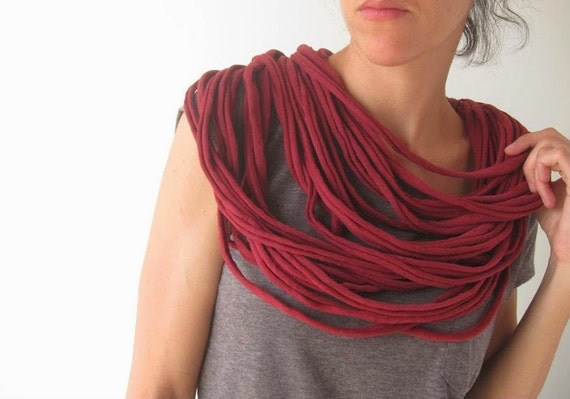 Burgundy upcycled multi-strand jersey fabric necklace