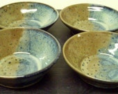 4 bowl set in blue and red glaze....