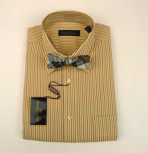 Dead Stock Bugatchi Striped Mens Tailored Shirt Vintage
