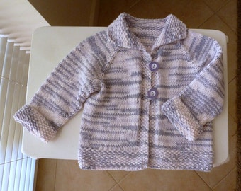 Hand knitted baby girl cardigan with collar, purple & mauve sweater, fit from 9 months