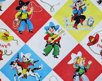 Vintage Juvenile Gift Wrap - Wrapping Paper - Western BIRTHDAY - Partial Sheet - COWBOYS and COWGIRLS - 1950s