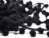 3 yards pom pom fringe - 1 inch - black - trim - halloween - party favor - gift wrap - papercraft - sewing