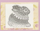 sweet lavender bunny zentangle black and white doodle art blank note card whimsy to give or keep original by inkspired - collagepaperpainting